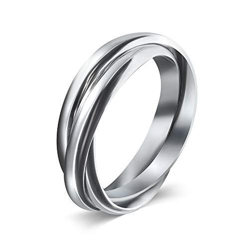 MyMantra Dreifach-Ring aus 925er Sterlingsilber (Größe 52/16.6 mm)
