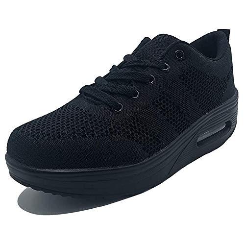 Damen Sneaker mit Keilabsatz Bequeme Plateau Freizeitschuhe Frauen Fitness Sportschuhe Mode Laufschuhe Leicht Turnschuhe ,Schwarz Q,35 EU, Etikette Gr: 36 CN