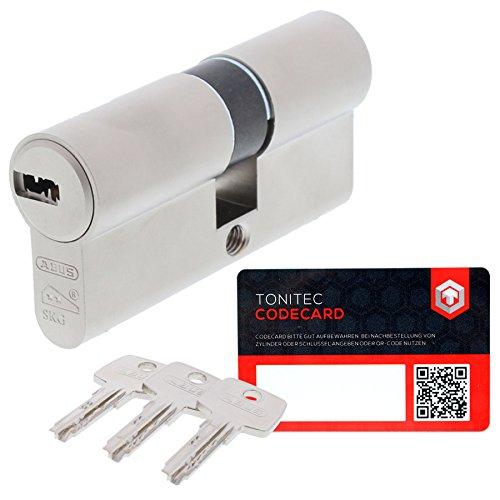 ABUS Schließzylinder Schließanlage Zylinderschloss als Doppelzylinder gleichschließend EC550 mit 3 Schlüssel inkl. ToniTec CodeCard Größe 30 35 mm Schließung 1