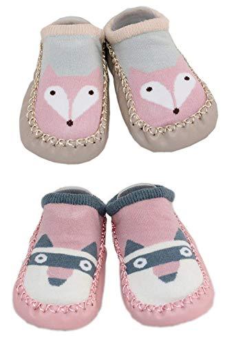 LCX 2 Paar Baby Jungen Mädchen Hausschuhe Anti-Rutsch-Schuhe Socken 9-18 Monate (Fox und Waschbär)