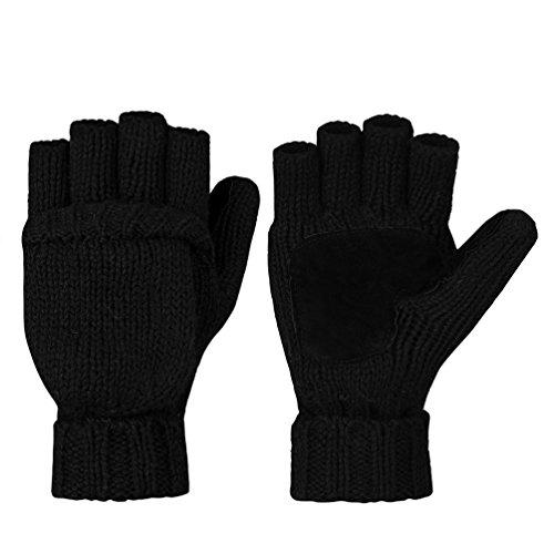 Vbiger Winter Handschuhe Fingerlose Fäustlinge Damen Fingerhandschuhe Fingerlos Halb Handschuhe Strick Handschuhe mit Flip Top, Schwarz, Einheitsgröße