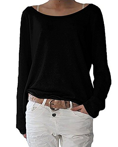 ZANZEA Damen Langarm Lose Bluse Hemd Shirt Oversize Sweatshirt Oberteil Tops Schwarz EU 48/Etikettgröße 2XL