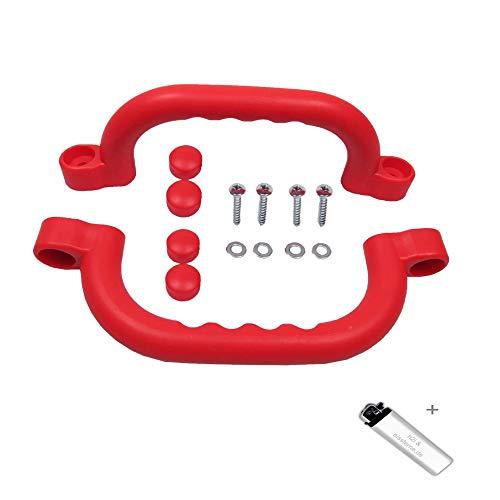 2 Stück h2i Haltegriffe/Handläufe in rot ideal für Klettergerüste Baum und Spielhäuser
