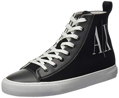 Armani Exchange Damen Hohe Sneaker, Schwarz (Black+White Logo 00002), 38 EU