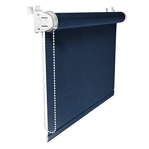 Victoria M. Klemmfix Verdunkelungsrollo ohne Bohren Rollo 80 x 150 cm, Dunkelblau, Seitenzugrollo Verdunkelung für Fenster und Türen