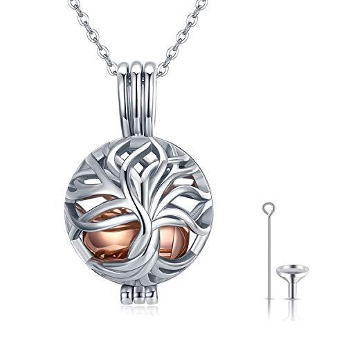 Asche Halskette, Asche Schmuck 925 Sterling Silber Baum des Lebens Feuerbestattung Schmuck für Asche Urne Halskette für Asche Andenken Erinnerungsgeschenke für Männer Mutter Oma Hund