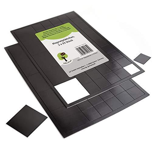 OfficeTree 110 Magnetplättchen - 100 Stück 20x20mm plus 10 Stück 40x40mm - selbstklebend für sichere Magnetisierung von Plakaten Fotos Papier - starke Haftkraft an Whiteboard Magnettafel Pinnwand