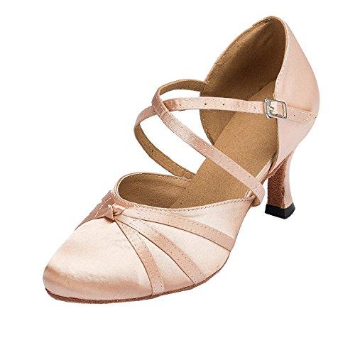 MINITOO Damen Latin Salsa Ankle Strap Bronze Satin Tanzschuhe Hochzeit Prom Pumps EU 39.5