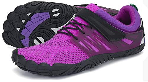 SAGUARO Barfußschuhe Damen Outdoor Zehenschuhe Traillaufschuhe Training Fitnessschuhe Straße Laufschuhe WalkingschuheSt.2 Violett 42