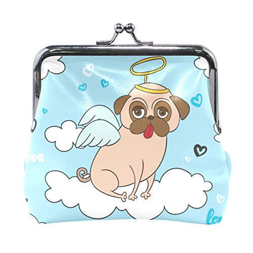 Fun Pug with Angel Costume Print Leather Coin Purse Mini Pouch Exquisite Buckle Change Purse Wallets Clutch Handbag