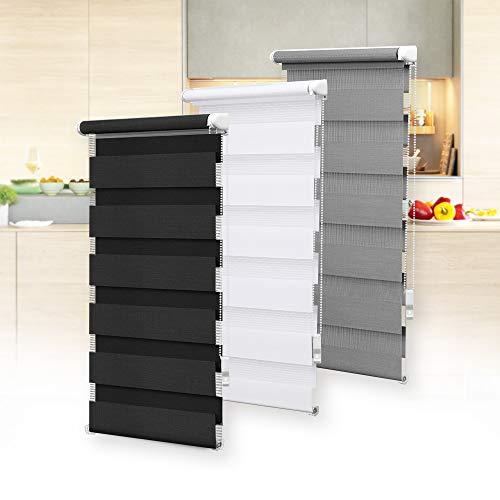 OBdeco Doppelrollo Duo Rollo Klemmfix ohne Bohren B90cm x H150cm(Stoffbreite 86 cm) Weiß für Fenster lichtdurchlässig und verdunkelnd