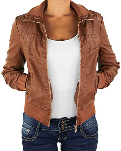Sotala Damen Lederjacke Kunstlederjacke Leder Jacke Damenjacke Jacket Bikerjacke Blouson in vielen Farben S - 4XL Nussbraun XL