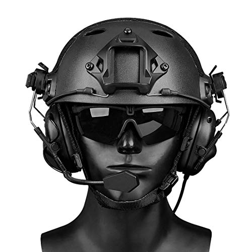 GODNECE Helm Headset Airsoft Headset Taktisch Headset Militär Helm WST Gen.5 Jagd Headset Rauschunterdrückungs Headset (Schwarz)