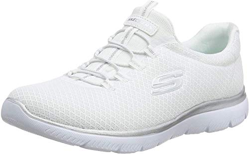 Skechers Women 12980 Low-Top Trainers, White (White/Silver), 5 UK (38 EU)