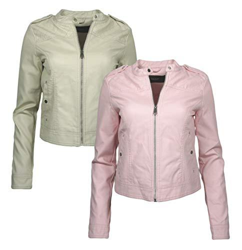 VERO MODA Damen VMALICE Short Faux Leather Jacket BOOS Jacke, Elfenbein Oatmeal, 36 (Herstellergröße: S)