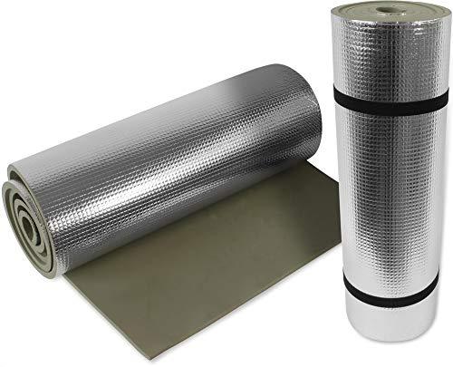 normani 2 oder 4 Ultraleichte Isomatten mit Aluminiumbeschichtung/Alu Thermomatten Farbe Oliv / 2 Stück