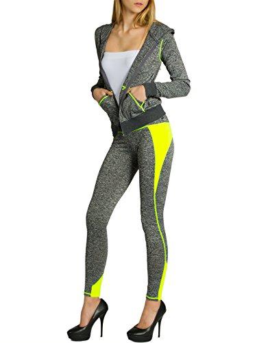 CASPAR JG001 stylischer Damen Jogginganzug mit Kapuze, Größe:S/M, Farbe:grau meliert/neon gelb