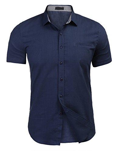 Herrenhemd Kurzarm Leinenhemd Kentkragen Herren Shirt Freizeit casual marine blau l
