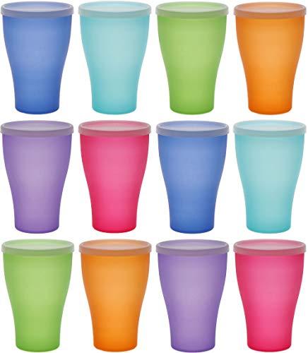 idea-station NEO Kunststoff-Becher 12 Stück, 450 ml, bunt, Deckel, mehrweg, bruchsicher, Plastik-Becher, Party-Becher, Trink-Becher, Party-Geschirr, Camping-Geschirr, Trink-Gläser, Kinder