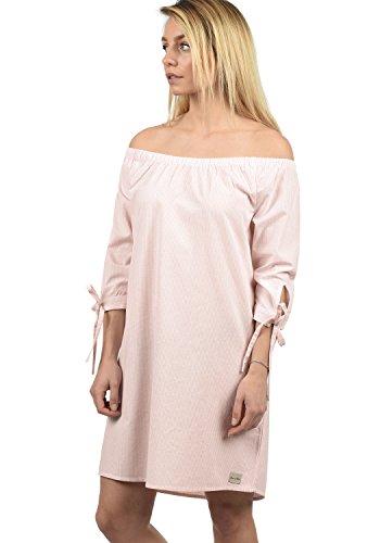 BlendShe Ophelia Damen Freizeitkleid Kleid Mit Off-Shoulder Carmen- Ausschnitt Aus 100% Baumwolle Knielang, Größe:L, Farbe:Veleid Rose Stripe (20405)