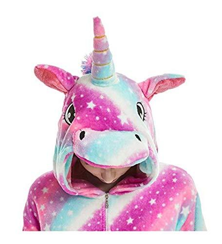 FMDD Tier Cosplay Kostüm Einhorn Cosplay Kostüm Onesie Pyjamas Erwachsene Halloween Cosplay Kostüm (Lila Einhorn, S(Höhe 147-157 cm))