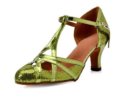 MINITOO Damen Geschlossen Zehen High Heel Grau Glitzer Salsa Tango Ballsaal Latin t-Strap Tanzschuhe EU 38
