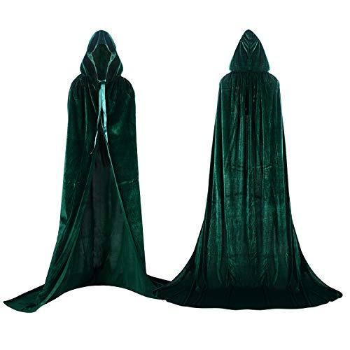 Labellevie Umhang mit Kapuze Lange SAMT Cape Vampir Kostüm Halloween Erwachsener Unisex- Gr. X-Large, Grün