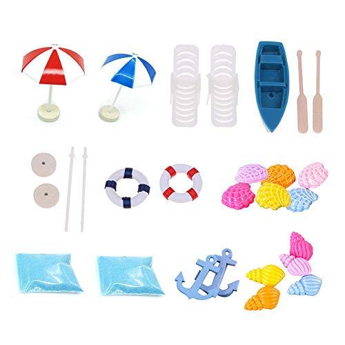 Ritte Miniatur Dekoration, 15 Stück Strand Mikrolandschaft Miniatur Ornament Set für DIY Fee, Garten, Puppenhausdekoration Geburtstagsgeschenk, Sonnenschirmen, Miniliegestuhl, Booten usw