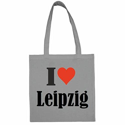 Tasche I Love Leipzig Größe 38x42 Farbe Grau Druck Schwarz