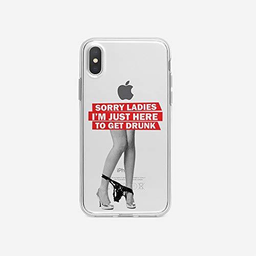 licaso Handyhülle kompatibel für Apple iPhone X I Schutzhülle aus TPU mit Sorry Ladies I'm Just Here to Get Drunk Print I Transparente Hülle Handy Aufdruck I Weich Silikon Durchsichtig