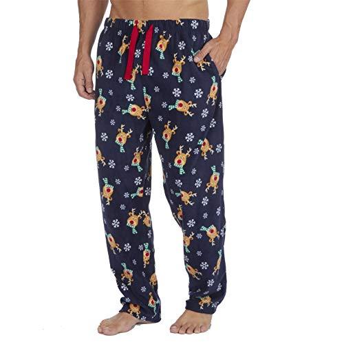 Style It Up Herren-Schlafanzughose, Schottenkaro, einfarbig, weich, warm, Fleece Gr. XL, Blaues Rentier/Schneeflocke