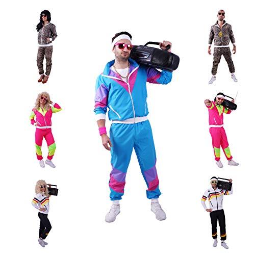 FetteParty1A - 80-er 90-er Jahre Erwachsenenkostüm, Deluxe Trainingsanzug - Jogginganzug, Jacke und Hose, Mehrfarbig Blau/Lila, Mottoparty Karneval JGA (M)