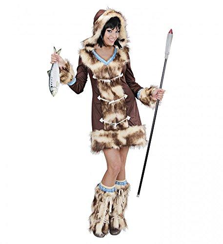 Widmann s.r.l. Fell-Kostüm Eskimo Girl Aikaa Kunstfell Damen Verkleidung Inuit warm sexy, Größe:M