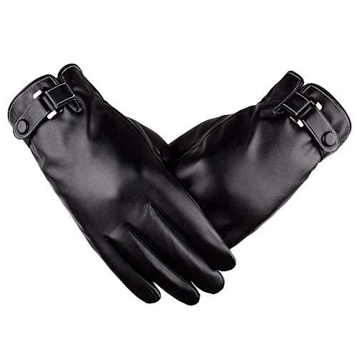 Herren PU Lederhandschuhe Schwarz Touchscreen Handschuhe Treibende Handschuhe Winter warme Handschuhe Mit langen Wildlederfutter