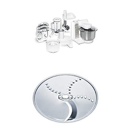 Bosch MUM4880 Küchenmaschine MUM4 (600 Watt, Edelstahl-Rührschüssel, Durchlaufschnitzler, Mixeraufsatz Kunststoff) weiß + Kartoffelpuffer-Scheibe (passend für Bosch Küchenmaschinen MUM4 und MUM5)