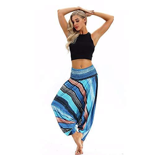 WUSIKY Haremshose Damen Sommerhose Damen Leicht Pumphose Culottes Hosen Lose Yoga Baggy Boho Aladdin Jumpsuit Umstandshose Hippie Kleidung Haremshosen Frauen Aladinhose (Hellblau, Freie Größe)