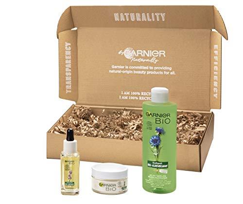Garnier Bio Naturkosmetik Gesichtspflege-Set – 3-teiliges Geschenk-Set, Bio-Lavendel Gesichtsöl & Anti-Falten-Creme, Bio-Kornblume Mizellenwasser