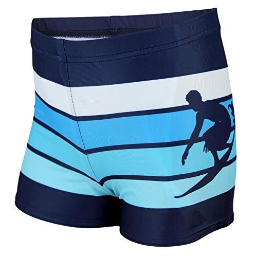 Aquarti Jungen Badehose Gestreift mit Motiven, Farbe: Dunkelblau/Blau, Größe: 134