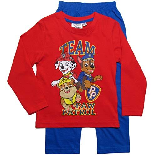 PAW PATROL Schlafanzug Jungen Pyjama Schlafanzug Lang (Marine/Rot, 110-116)