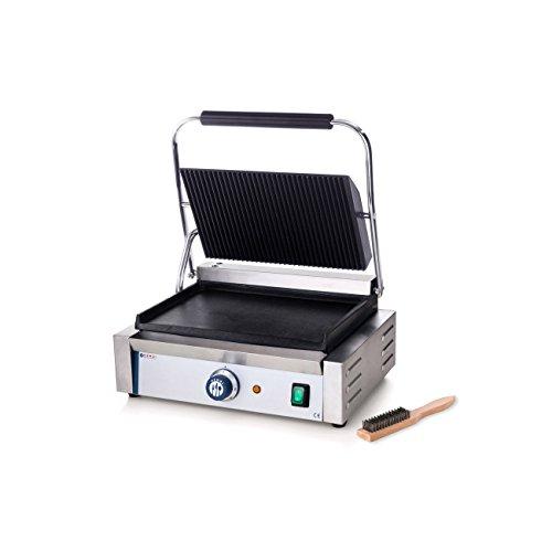 HENDI Kontaktgrill, Panini-, sandwich- & Kontaktgrill, Regelbar bis max. 300°C, Oberseite (H)530mm, Grillfläche 340x230mm, 230V, 2200W, 430x379x(H)210mm, Edelstahl
