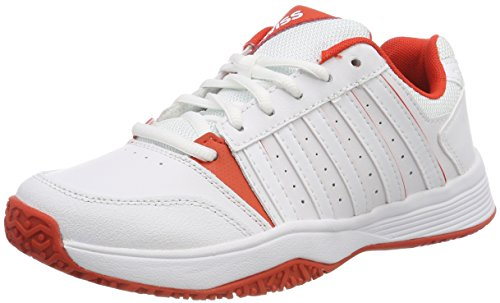 K-Swiss Performance Unisex-Kinder Court Smash Omni Tennisschuhe, Weiß (White/Fiesta 01), 39 EU