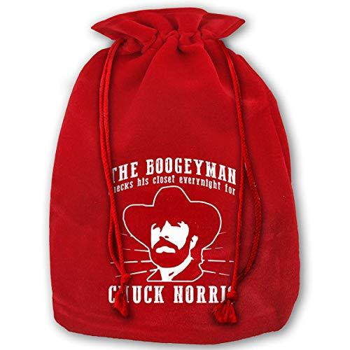 HRTSHRTE The Boogeyman Checks His Closet Every Night for Chuck Norris Christmas Drawstring Bag Gift Bags Santa Sack for Christmas Party Decoration
