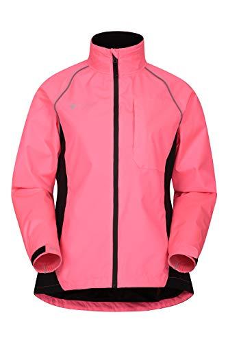 Mountain Warehouse Adrenaline wasserdichte Fahrradjacke für Damen - Atmungsaktiver Damenmantel, Hi-Vis, geklebte Nähte, reflektierende Regenjacke - Zum Radfahren, Laufen leuchtendes Pink 40