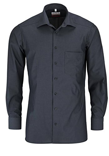 MARVELIS Comfort Fit Hemd Langarm New Kent Kragen anthrazit, Größe 43, Farbe Anthrazit