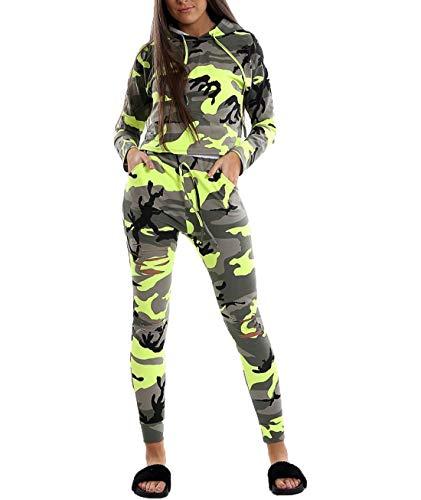 Hi Fashionz Aktive Neon Camouflage Damen Jogginganzug Damen Sportbekleidung Trainingsanzug Neon Gelb EU 38