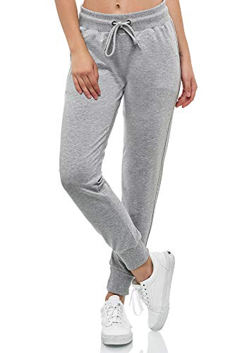 Smith & Solo Women's Jogging Bottoms - Sports Trousers Women Cotton | Sweatpants Slim Fit Casual Trousers Long | Training Trousers Fitness High Waist - Jogger Running Trousers Modern - Grey - X-Large