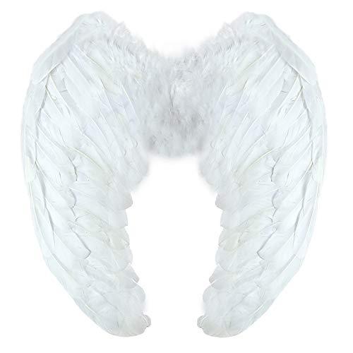 Yummy Bee - Echte Federn Engel Fee Flügel Groß Damen Karneval Fasching Kostüm Erwachsene Größe 60cm x 40cm (Weiß)