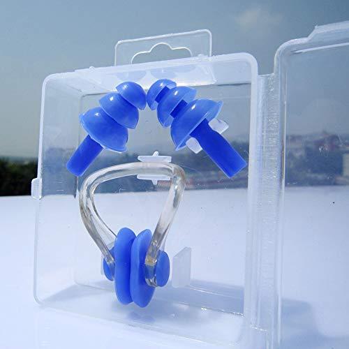 VOANZO 4 Stücke Silikon Schwimmen Ohrstöpsel Für Kinder Ohrstöpsel Und Nasenklammer Sets, Wasserdicht & Komfortabel Für Kinder Mädchen Jungen Babys Kleinkinder (blau)