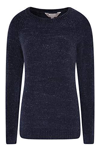 Mountain Warehouse Oxford Chenille-Damen-Strick-Top – Langarm-Bluse, leicht, atmungsaktiv, pflegeleicht – ideal für Reisen, Wandern, Urlaub Marineblau 46 DE (48 EU)
