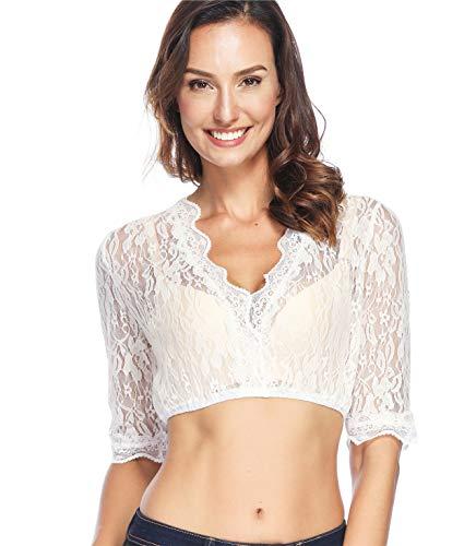 Lever Damen Dirndl Spitzenbluse Dirndlbluse Spitze Dirndl Bluse Weiß Baumwolle Trachten Bluse 36 Herstellergröße S
